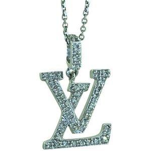 Jewelry - NEW 18k White Gold Diamond LV Charm Free 14k Chain